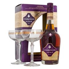 courvoisier vsop cognac gift set with 2 coupe glasses 70cl
