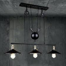 retractable lighting. Pulley Pendant Lamp Loft Vintage Iron Industrial Led Country Lights Adjustable Wire Retractable Lighting Coloured Glass