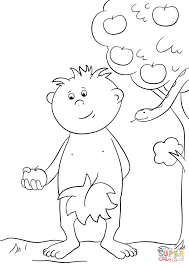 Adam with Apple coloring page   Free Printable Coloring Pages
