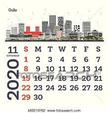 November 2020 Calendar Clip Art November 2020 Calendar Template With Oslo City Skyline