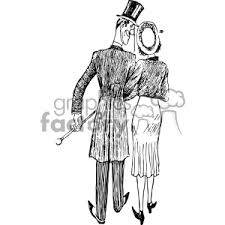 Couple Walking Away Vintage 1900 Vector Art Gf Clipart Royalty Free Clipart 402585