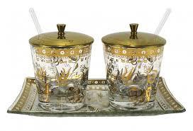 vintage glass jelly jam set