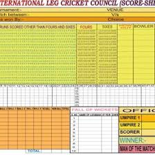 Cricket Score Card Format Score Sheet Template 158 Free Templates In Pdf Word Excel