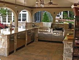 Kitchen Stone Floor Exteriors Modern Outdoor Kitchen Decor With Round Laminated