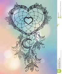 Heart Dream Catcher Tattoo Heart Shaped Dream Catcher With Moon Stock Vector Illustration 40