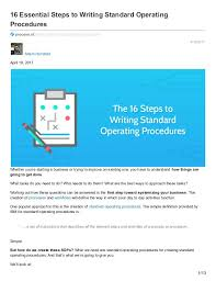 Sop On Standard Operating Procedures Writing Safe – Peero Idea