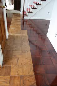 Gel stain on parquet-like floors. For anyone looking to redo parquet floors  on a dime.