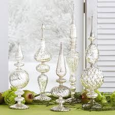 The Jolly Christmas Shop  Raz Clear Iced Finial Glass Christmas Christmas Tree Finials