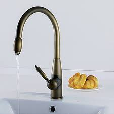 Antique inspired Pull Down Kitchen Faucet Antique Brass Finish