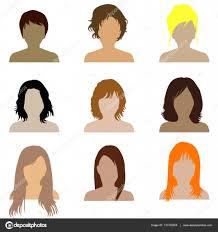 髪型の種類と女性のコレクション ストックベクター Hibrida13 137702958