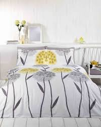 callium dandelion lemon yellow beige grey white duvet cover quilt bedding set double bed size hallways