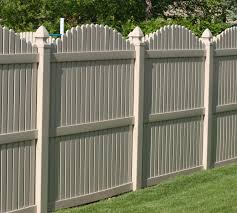 Scalloped vinyl picket fence Tan The American Fence Company Vinyl Fencing 6 Overscallop Picket Tan 555 The American Fence Company Picket Fence The American Fence Company