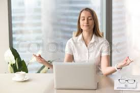 office meditation. Fine Office Peaceful Woman Enjoys Yoga With Eyes Closed At Desk No Stress Keep  Calm Hands In Chin Mudra Gesture Office Meditation Portrait Stock Photo In Office Meditation