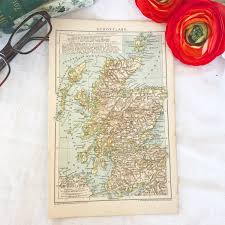 Antique 1895 Scotland Map Print Color Old Word Map Book