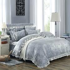 fleece fabric warm bedding set grey luxury embossing duvet cover king queen twin ruffles size dark
