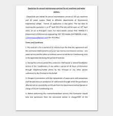 annual maintenance contract format for machine maintenance quotation template samples formats