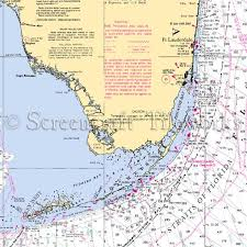Florida Ft Lauderdale To Key West Nautical Chart Decor