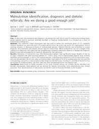 pdf malnutrition identification diagnosis