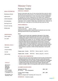 Science teacher resume