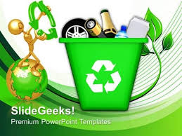 Business Green Recycle Bin Icons Environment Ppt Template
