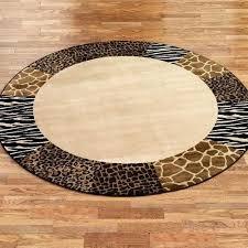 safari collage round rug beige brown animal print rugs uk