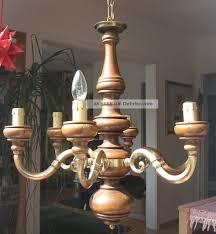 Art Deco Kronleuchter Holz Messing Massiv Lampe Lüster