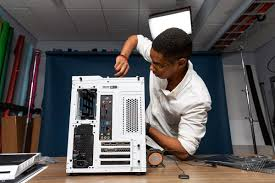 from there align your card s gold connector with the motherboard s slot and the back of the case pressing down firmly until you hear a