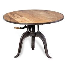 furniture round brown wooden coffee table with three black metal legs presenting amazing adjule
