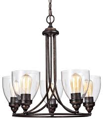 5 light chandelier with glass shade antique copper