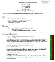 Nursery School Teacher Resume Sample Preschool Teacher Resume