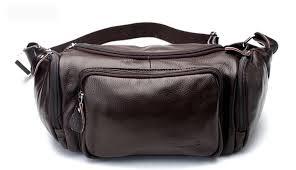 coffee leather hip bag