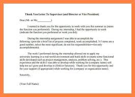 Thank You Internship Internship Thank You Letter To Supervisor