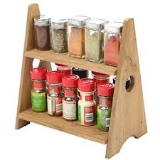 Image is loading Wood-Small-Spice-Rack -Display-Shelves-Countertop-Decorative-