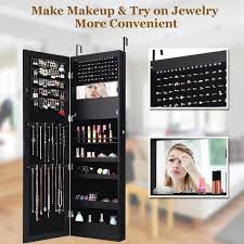 costway lockable mirror jewelry cabinet