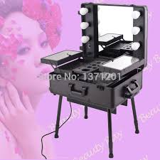black makeup station with lights cosmetic beauty train trolley case with lighted mirror and legs