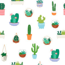 Vector seamless pattern with different <b>cactus</b>, <b>green plants</b> in pottery ...