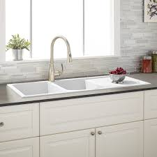 White Sinks For Kitchen 46 Tansi Double Bowl Drop In Sink With Drain Board White Kitchen