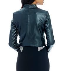 black jackets calvin klein long sleeve faux leather jacket womens black