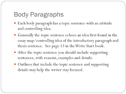 how to format and write the basic five paragraph essay writing to  body paragraphs each body paragraph has a topic sentence an attitude and controlling idea