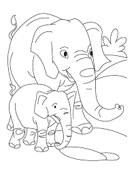 elephant with baby elephant coloring pages free