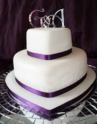 2 Tier Purple Heart Wedding Cake Ideas Heart Shaped Wedding