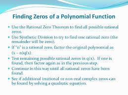 4 finding zeros of a polynomial function use the