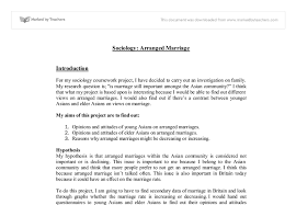 sociology arranged marriage coursework gcse sociology marked document image preview