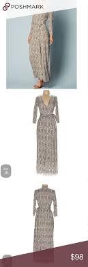 Boden Brown White Geometric Maxi Wrap Dress 10 Beautiful