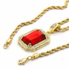 mens hip hop 14k gold plated simulated red ruby pendant w 24 4mm tch rope