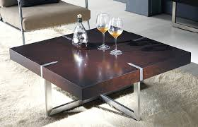 Wenge Color Square Coffee Table With Metal Legs
