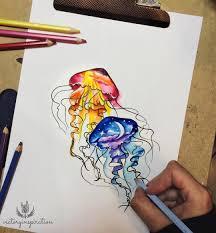 оригинальный универсальный эскиз тату медузы 320