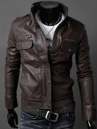 men s dark coffee stand collar pu leather belt embellished epaulet long sleeve jacket
