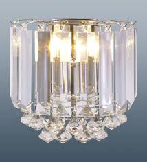 modern wall light sconce prism crystal chandelier 2 bulb lamp fitting chrome
