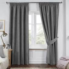 dante charcoal grey luxury soft chenille lined pencil pleat curtains pair